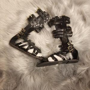 Super Pretty Below the Knee Black Roman Sandals
